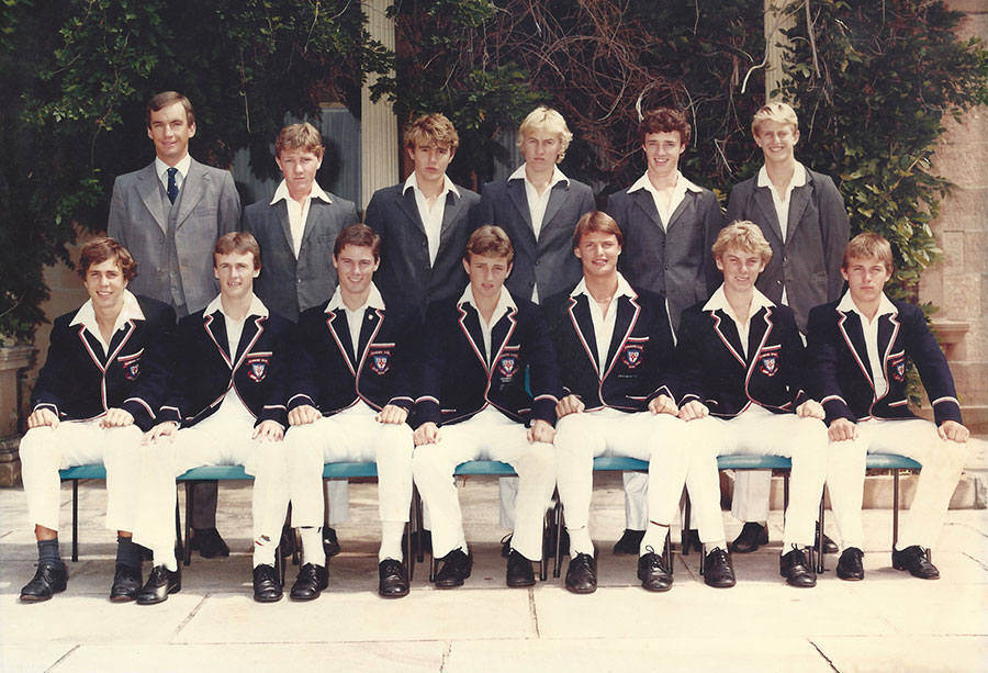 Peter Roebuck with pupils at Cranbrook School