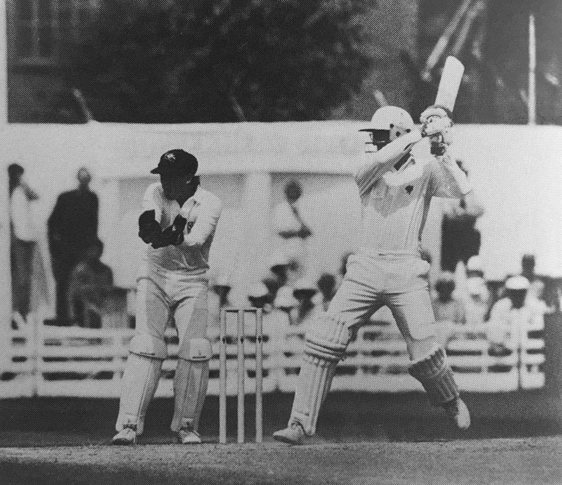 Peter Roebuck batting towards a century 1989