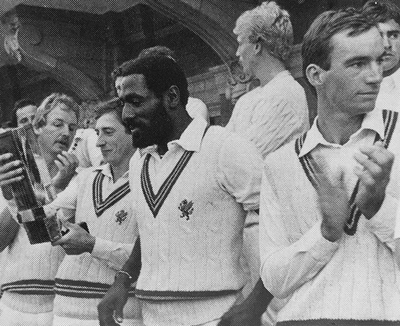 Viv Richards, Peter Roebuck and Somerset team members celebrate