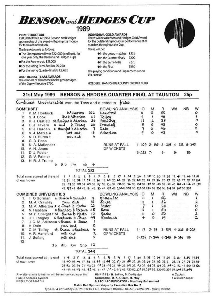 Benson & Hedges quarter-final 1989