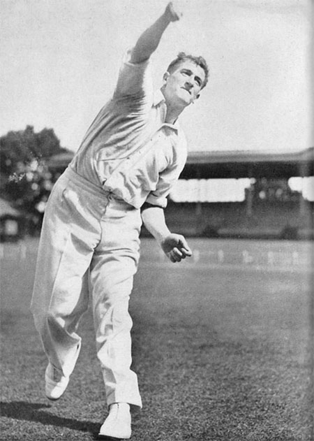 Harold Larwood bowling