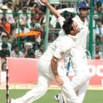 Mitchell Johnson bowling against India in 2010