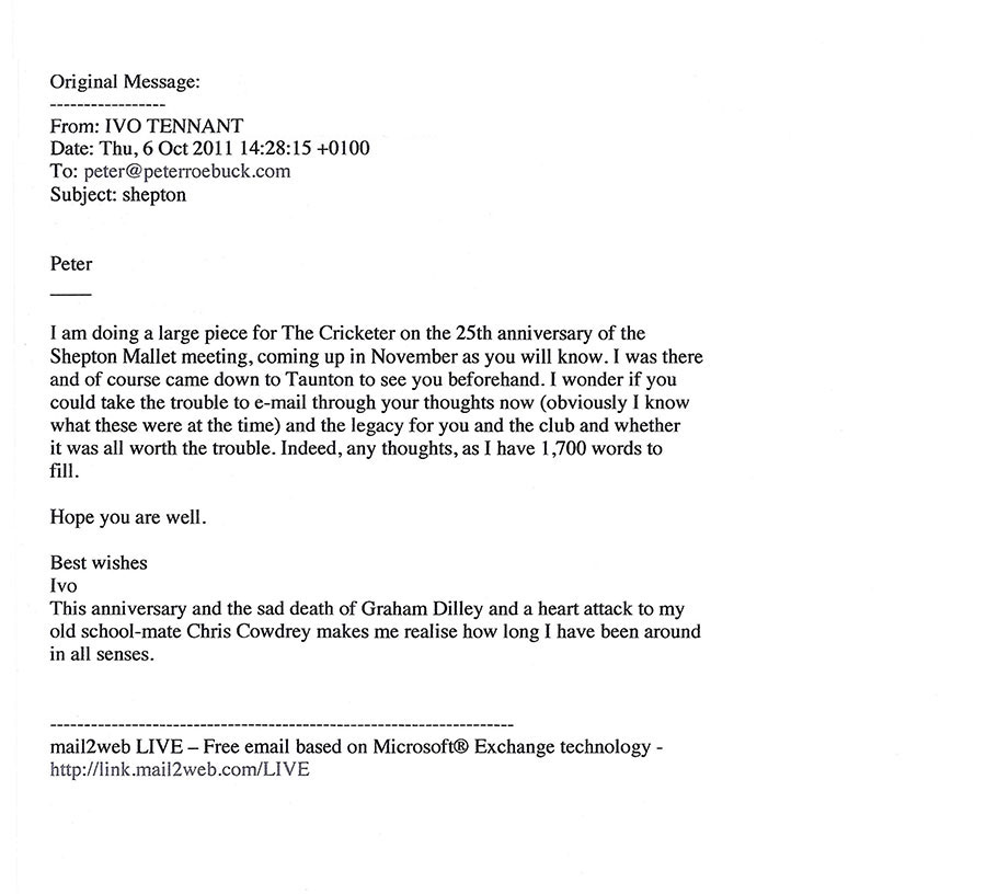 Peter Roebuck and Ivo Tennants emails of 1986 EGM