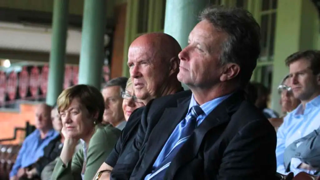 In attendance at the Peter Roebuck memorial, Kerry O'Keefe and Peter Wilkins. Credit: Ben Rushton